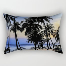 Palm Tree Beach Ocean Pool Sunset Rectangular Pillow