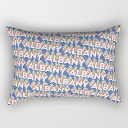 Albany, New York Trendy Rainbow Text Pattern (Blue) Rectangular Pillow