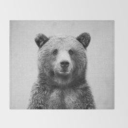 Grizzly Bear - Black & White Throw Blanket