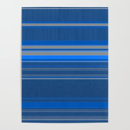 Bright Blues with Grey Stripes Poster