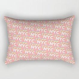 NYC, New York, USA Trendy Rainbow Text Pattern (Pink) Rectangular Pillow
