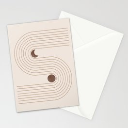 Woodblock Beige Mid Century Modern Stationery Cards