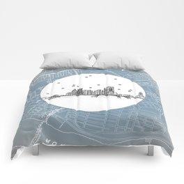 Pittsburgh, Pennsylvania City Skyline Illustration Drawing Comforters