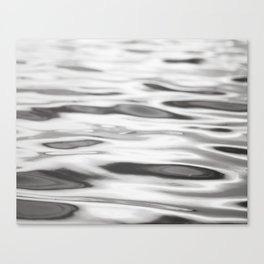 Black and White Water Ripples Photography, Grey Ocean Sea Lake Photo, Neutral Gray Abstract Nature Canvas Print