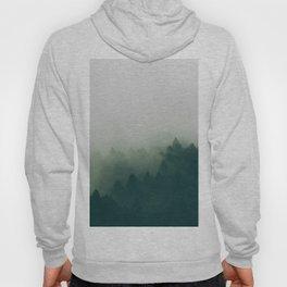 Misty Green Pine Forest Minimalist Landscape Photography Foggy Hoody