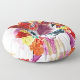 Cow Indian Blossom Yoga Art Floor Pillow