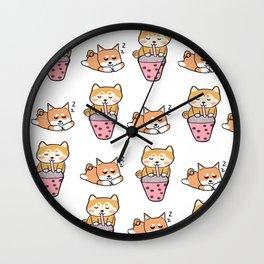 Shiba pattern with bubble tea Wall Clock