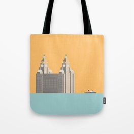 Liverpool Liver Building with Ferry on the Mersey Tote Bag