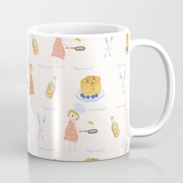 Cute girl cook with pancake and chef hat illustration Coffee Mug