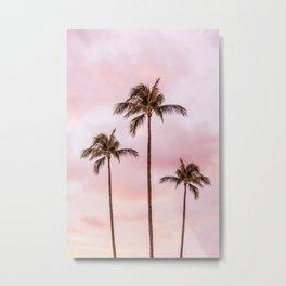 Palm Tree Photography Landscape Sunset Unicorn Clouds Blush Millennial Pink Metal Print