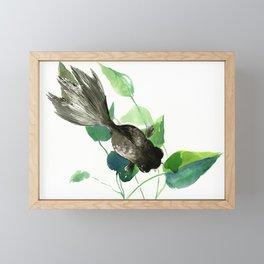 Black Moor Aquarium Fish, Elegant black and green design aquatic black fish Framed Mini Art Print