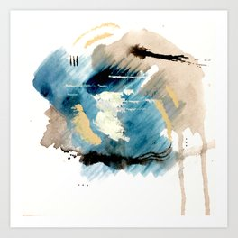 You are an Ocean - abstract India Ink & Acrylic in blue, gray, brown, black and white Art Print