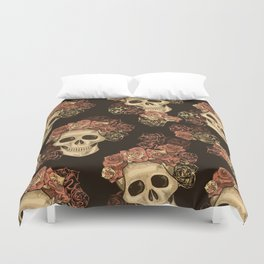 Skulls and Roses Spooky Halloween Duvet Cover