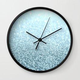 Ice Blue Glitter Sparkle Wall Clock