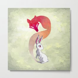 Rabbit and a Fox Metal Print