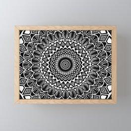 Detailed Black and White Mandala Framed Mini Art Print