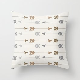 Tribal Arrows Pattern - Cream, Brown and Grey Throw Pillow