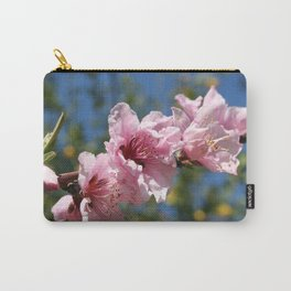 Close Up Peach Tree Blossom Against Blue Sky Carry-All Pouch