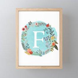 Personalized Monogram Initial Letter F Blue Watercolor Flower Wreath Artwork Framed Mini Art Print
