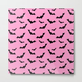 Black Bat Pattern on Pink Metal Print