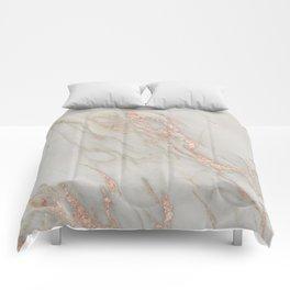 Marble - Rose Gold Marble Metallic Blush Pink Comforters