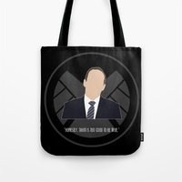 agents of shield Tote Bags featuring Agents of S.H.I.E.L.D. - Coulson by MacGuffin Designs