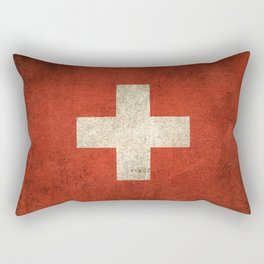 Old and Worn Distressed Vintage Flag of Switzerland Rectangular Pillow
