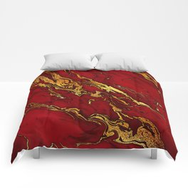 Chic Elegant Fire Red Ombre Glitter Marble Comforters