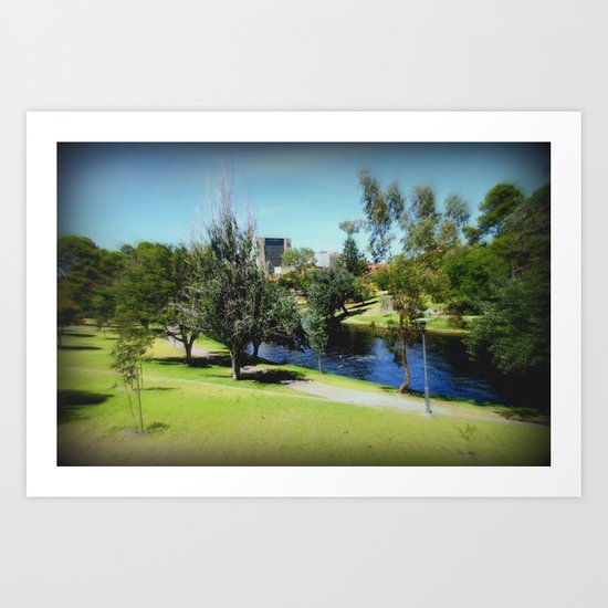 Torrens river overlooking the Adelaide CBD Art Print