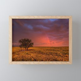 Fire Within - Red Sky and Rainbow Over Lone Tree on Great Plains Framed Mini Art Print