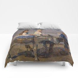 Boy and Girl Riding Donkeys - Isaac Israëls Comforters