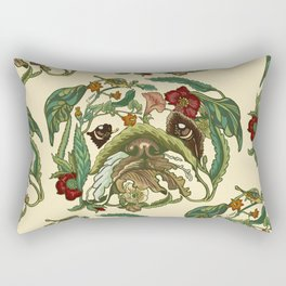 Botanical English Bulldog Rectangular Pillow