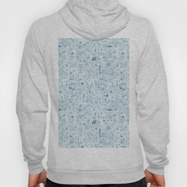 Blue and White Space Inspired Futuristic Pattern Hoody