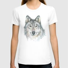Wolf White Womens Fitted Tee MEDIUM