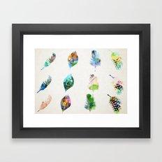 Watercolour Feather Pattern Framed Art Print