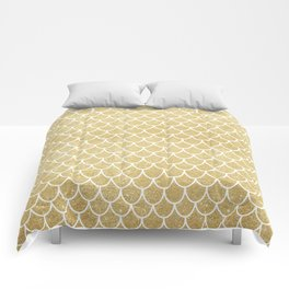 Mermaid Tail Pattern     Gold Glitter Comforters