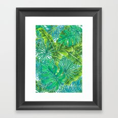 Tropcal leaves watercolor Framed Art Print