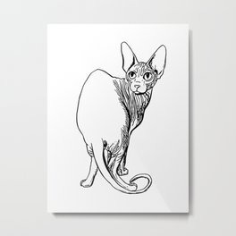 Sphynx Cat Illustration - Sphynx - Cat Drawing - Naked Cat - Wrinkly Cat - Black and White Metal Print