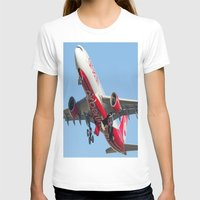 airplanes T-shirts featuring Air Berlin Airbus A330-223 Take-off Miami airplanes USA D-ALPJ by Yan David