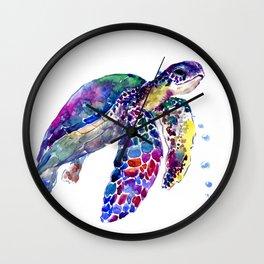Sea Turtle Rainbow Colors, turtle design illustration artwork animals Wall Clock