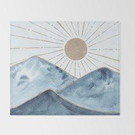 Indigo & gold landscape 1 Throw Blanket