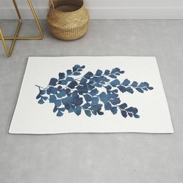 Blue watercolor maidenhair fern Rug