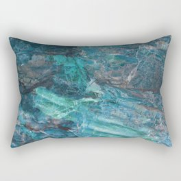 Azzurro Marble, Teal, Aqua, Blue Rectangular Pillow