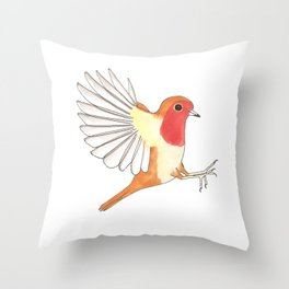 Robin In Flight Throw Pillow