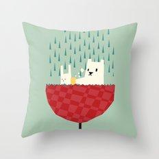 umbrella bath time! Throw Pillow