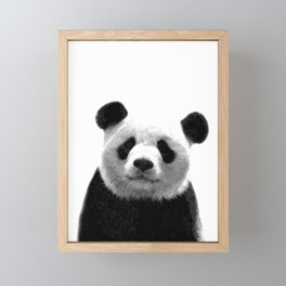 Black and white panda portrait Framed Mini Art Print
