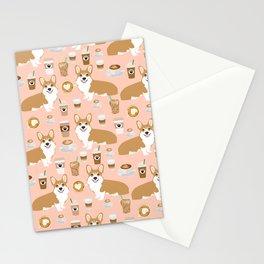 Corgi coffee welsh corgis dog breed pet lovers pink corgi crew pet lovers Stationery Cards