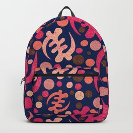 Gye Nyame pattern- pink on navy background Backpack