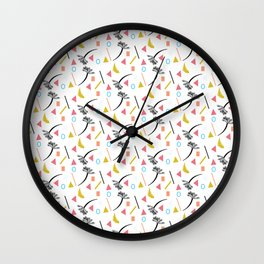 Coral Mix Palm Tree Tropical Collage Pattern Wall Clock