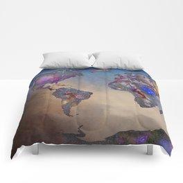 Stars world map. Blue. World map Comforters